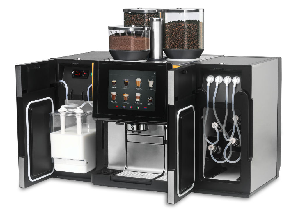 WMF coffee machines with new Syrup Station and Center Cooler unit. Add-on equipment facilitates even greater creativity and flexibility in beverage offerings