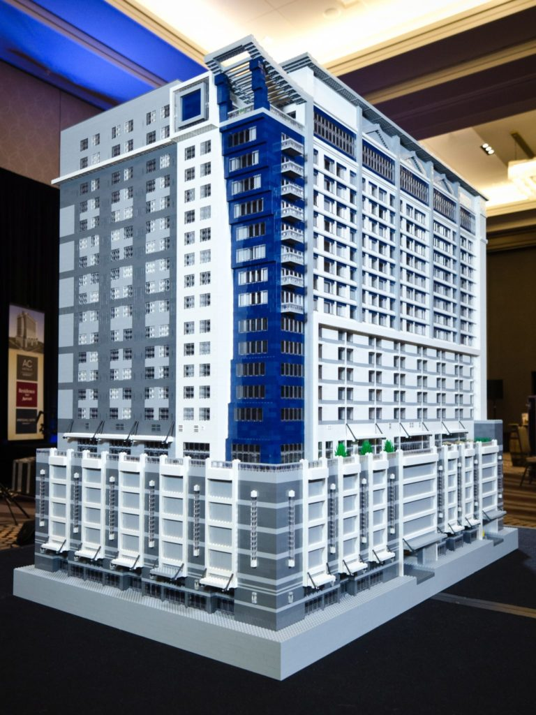 New hotel project presented by one of a kind Lego model