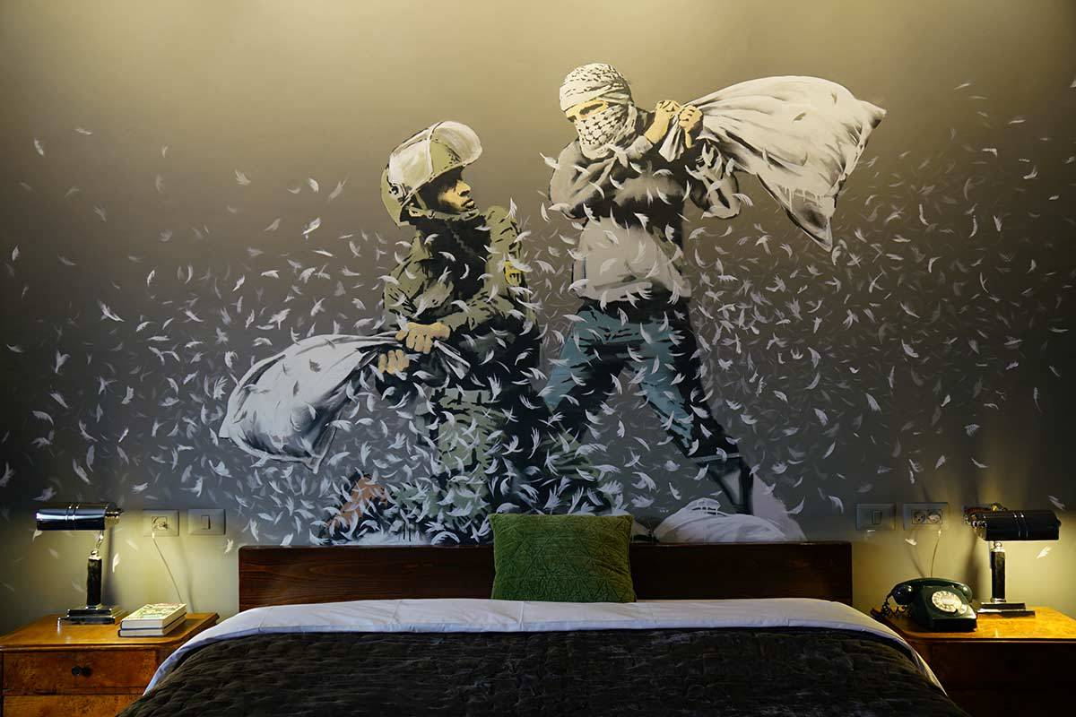 Banksy brings his rogue style to a Palestinian hotel