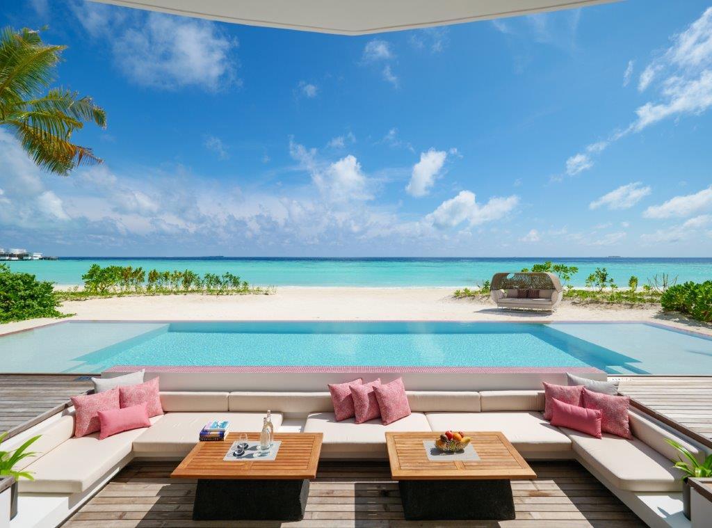 Beach Villa Pool Deck at LUX North Male Atoll Maldives