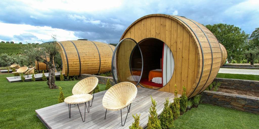 Portuguese vineyard creates hotel from wine barrels