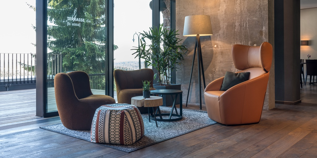 Designer furniture collection from ROLF BENZ and freistil ROLF BENZ in Hotel Fritz Lauterbad.