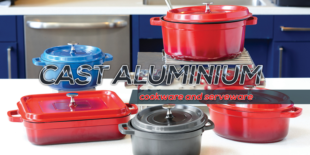 Enhance your buffet with coloured Cast Aluminium servers!