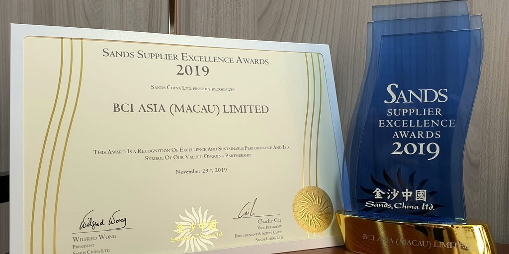 BCI Worldwide selected by Sands China for their Supplier Excellence Award