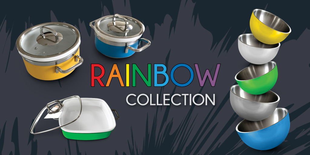 Andy Mannhart Rainbow Collection pans & serving bowls