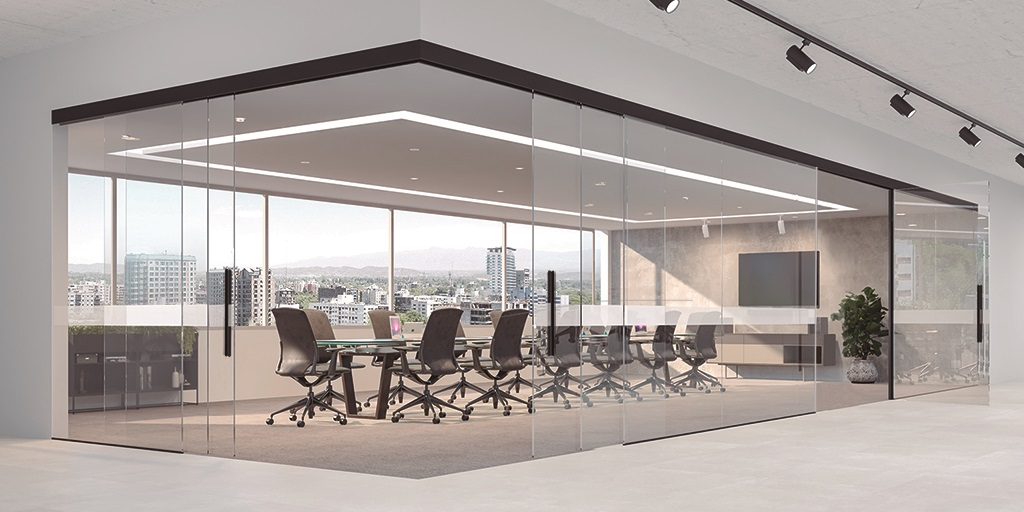 Klein Extendo telescopic sliding system: Now also in black finish and new additional swing door accessory