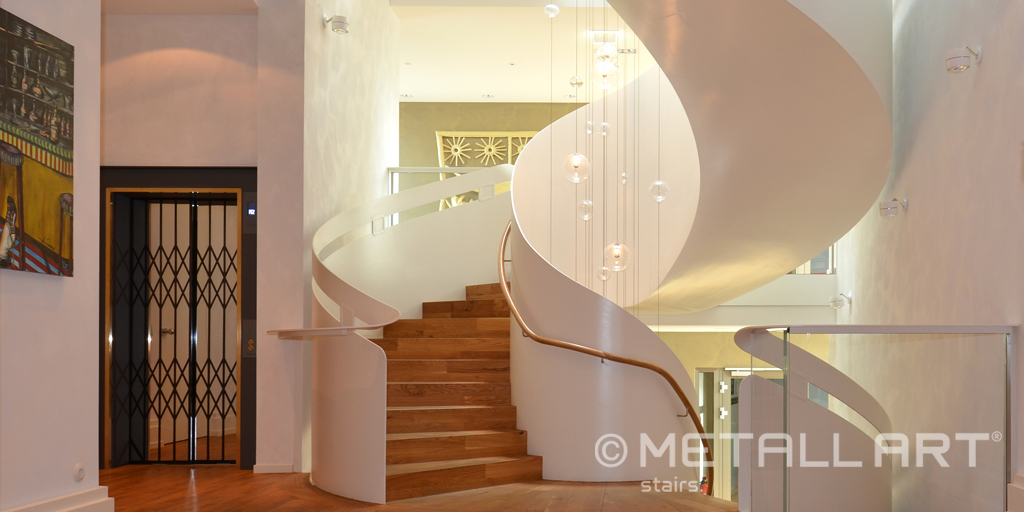 Grand staircase design with premium support by MetallArt